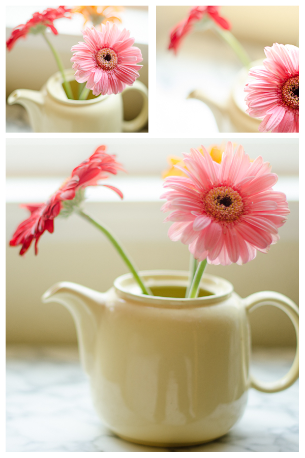 teapot and flowers layout